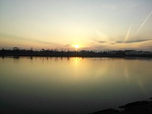 三つ又池公園の夕日